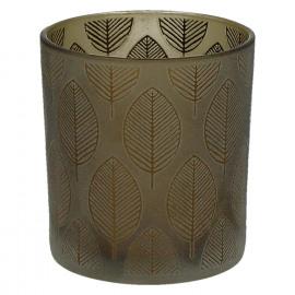 CHIC ' LEAF - T/light-Glas-Gouden bladeren- S- dia 7.3 x 8 cm - bruin