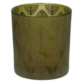 CHIC ' LEAF - T/light-Glas-Gouden bladeren- S- dia 7.3 x 8 cm - geel