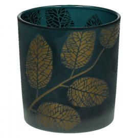 POETIC - T/light-Glas-Gouden bladeren- blauw- S - dia 7.3 x 8 cm