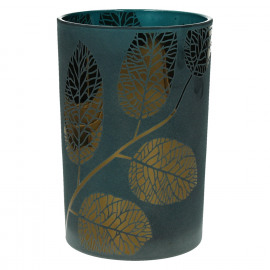 POETIC - T/light-Glas-Gouden bladeren- blauw - M - dia 12 x 18 cm