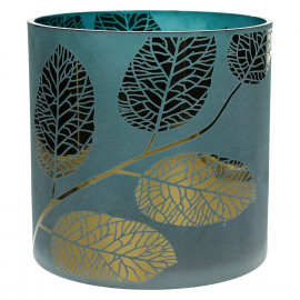 POETIC - T/light-Glas-Gouden bladeren- blauw- L - dia 20 x 20 cm