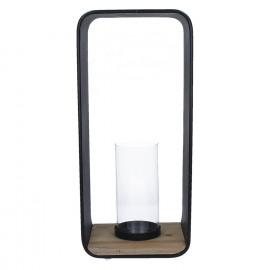 LUCE-Kandelaar-Ijzer-Hout-Glas- 20.5 x 16 x 45.2 cm