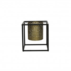 ZEN-Kandelaar-Ijzer-Zwart-Brass-S- dia 15 x 16 cm