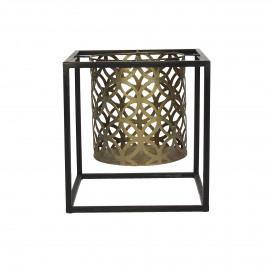 ZEN-Kandelaar-Ijzer-Zwart-Brass-L- dia 20 x 21 cm