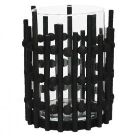 OSCAR-Candle holder-Wood-Black-L- dia 17 x 22 cm