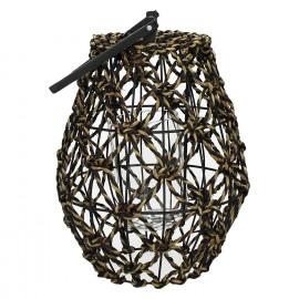 RIOSA-Lantern-Banana fiber-Black-M- dia 25 x 45 cm