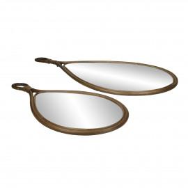 SAM - set/2 spiegels - rotan / spiegelglas - L 28/37 x W 2 x H 55/74 cm - bruin