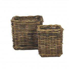 PIANTA - set/2 planters - rotan - L 40/50 x W 40/50 x H 40/50 cm