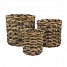 PIANTA  - set/3 planters  - rotin - DIA 40/50/60 x H 40/50/60 cm