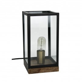 FACTORY - table lamp - metal/glass - black/transparant - 16x16xh30 cm