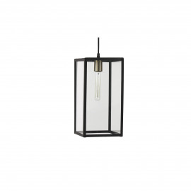FACTORY - hanglamp - metaal/glas - zwart/transparant - 21x21xh40 cm