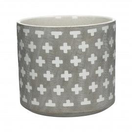 EPHESE - bloempot - keramiek - kruis patroon    - L - dia18,5x16,5