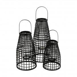 SKAGEN  - set/3 lanterns - bamboo - DIA 27/30/33 x H 40/53/67 cm - black