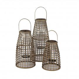 SKAGEN  - set/3 lanternes - bambou - DIA 27/30/33 x H 40/53/67 cm - Naturel