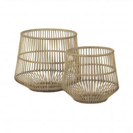 SALTUM - set/2 manden - bamboe - naturel - S:Ø35xh31  L:Ø45xh38 cm