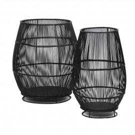 LAMI -set van 2 lantaarns- rotan/ijzer - zwart - S: dia 33x50 + M : dia48x56 cm