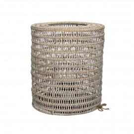 PAPARA - lantaarn - rotan/ijzer - white wash - dia30x35 cm