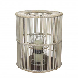 TAHUATA - lantaarn - rotan/izjer - white wash - dia30x35 cm