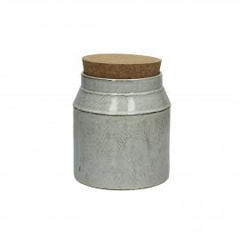 FANNY - pot de cuisine avec couvercle - faïence / liège- S - dia12x12,5 cm