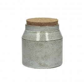 FANNY - pot de cuisine avec couvercle - faïence / liège - M - dia14x16cm