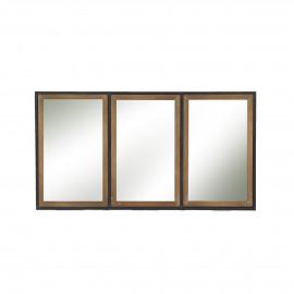 STRUCTURE - spiegel - metaal/hout - zwart/naturel - M - 82x44x3 cm