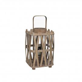 BIBA - lanterne - bois - naturel - S - 20x20xh40 cm