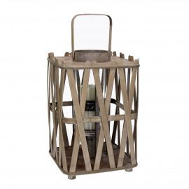 BIBA - lanterne - bois - naturel - L - 25x25xh49 cm