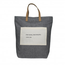 ENJOY - shopper with text - cotton/leather - grey - 38x41 cm