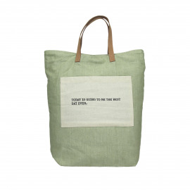 ENJOY - shopper with text - cotton/leather - green - 38x41 cm