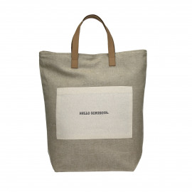 ENJOY - shopper with text - cotton/leather - sand - 38x41 cm