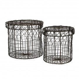 SIENNA - set/2 baskets with cover - iron wire - brown - S:Ø15xh17  L:Ø20xh19 cm