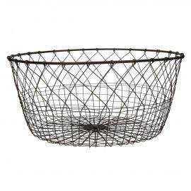 LUCA - basket - iron wire - brown - L - Ø44xh20 cm
