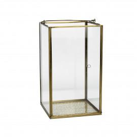 PIENZA - lanterne - métal/verre - laiton antique - 15x15xh25 cm