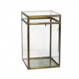PIENZA - boîte - métal/verre - laiton antique - M - 13x13xh21,5 cm