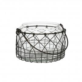 LUCA - lanterne - verre/fil de fer - brown - Ø17xh14 cm
