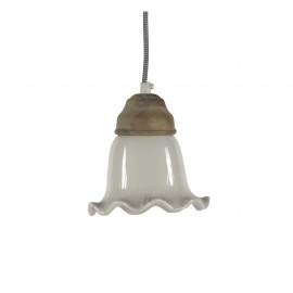 GIULIA - hanging lamp - ceramic/wood - white - Ø16xh16 cm