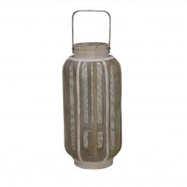 ARIANE - lantaarn - bamboe/metaal - naturel/goud - S - Ø15xh32 cm