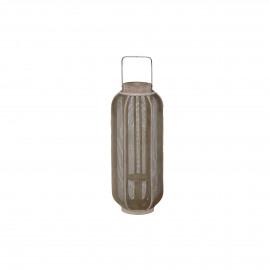 ARIANE - lantaarn - bamboe/metaal - naturel/goud - M - Ø23xh56 cm