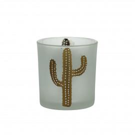 SOMBRERO - T /light - gezandstraald glas - wit/gouden cactus - S - Ø7 x 8 cm