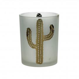 SOMBRERO - T /light - gezandstraald glas - wit/gouden cactus - M - Ø10x12,5 cm