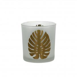 SOMBRERO - T /light - gezandstraald glas - wit/gouden blad  - S - Ø7 x 8 cm