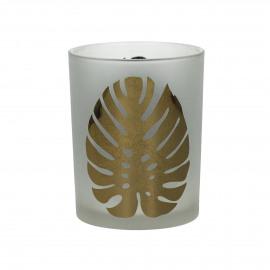 SOMBRERO - T /light - gezandstraald glas - wit/gouden blad  - M - Ø10x12,5 cm