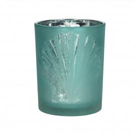 ATLANTIS - T /light - gezandstraald glas - Aqua/witte schelp- M - Ø10x12,5 cm