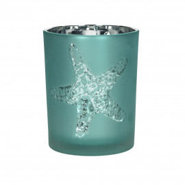 ATLANTIS - T /light - gezandstraald glas - Aqua/witte zeester- M - Ø10x12,5 cm