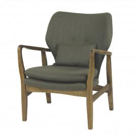FJORD - armchair - dark elm/khaki fabric - 65x78x85 cm