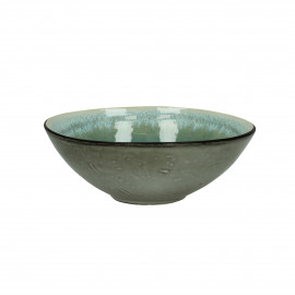 KIMO - SOUP PLATE Ø18 - Stoneware - DIA 17 x H 7 cm - Aqua