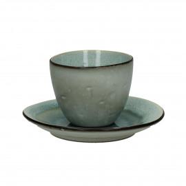 KIMO - P/T TEA/CAPUCCINO/MI - Stoneware - DIA 15 x H 8 cm - Aqua