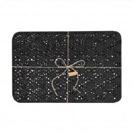 RAMA - Set van 6 placemats - vilt - L 49 x W 32 cm - zwart
