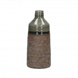 BYRON - vaas - porselein - bruin/groen - M - Ø11xh25,5 cm