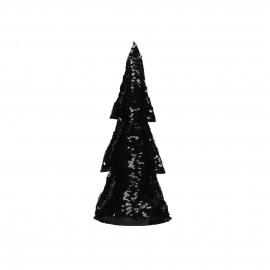 SEQUIN - deco boom - lovertjes - zwart/goud - S - h28 cm